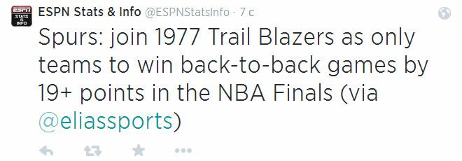 «Сан-Антонио» стал второй командой после «Портленда»-1977, которой удалось дважды кряду выиграть в финале НБА на выезде с разницей «+19» и более.