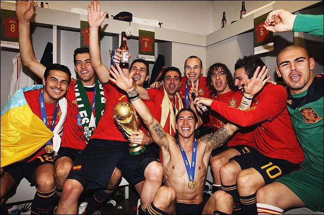 Испанцы с Кубком мира