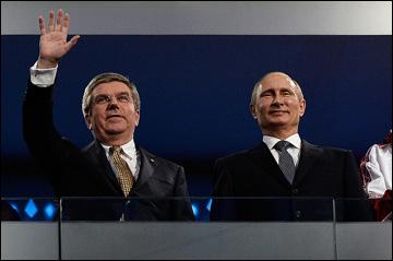 Президент МОК Томас Бах и президент РФ Владимир Путин