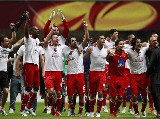 """Футболисты """"Браги"""" празднуют выход в финал Лиги Европы"""