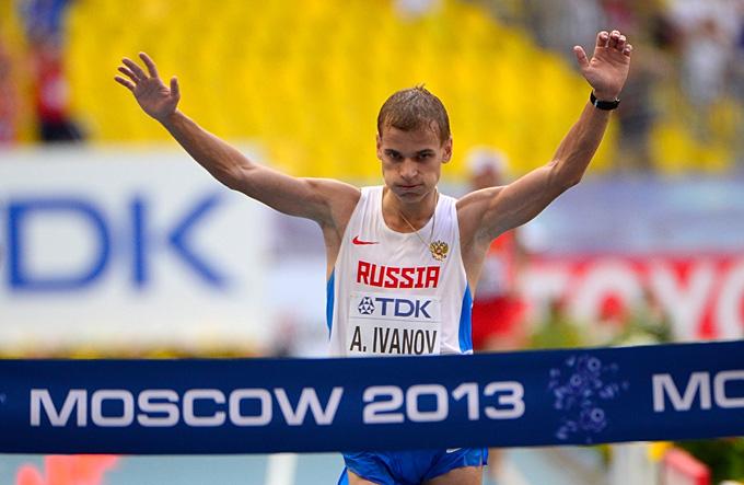 Чемпионат мира по лёгкой атлетике. Мужчины. Ходьба на 20 км. Победный финиш Александра Иванова