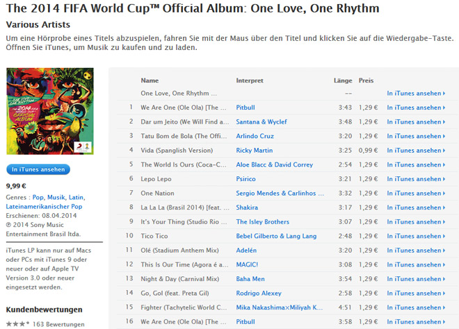 One Love, One Rhythm — The 2014 FIFA World Cup Official Album