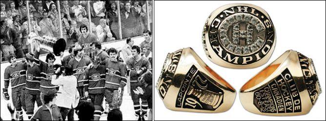 Слева - 14 мая 1977 года. Победные мгновения. Справа - перстень обладателя Кубка Стэнли-1977 Ги Лапойнта.