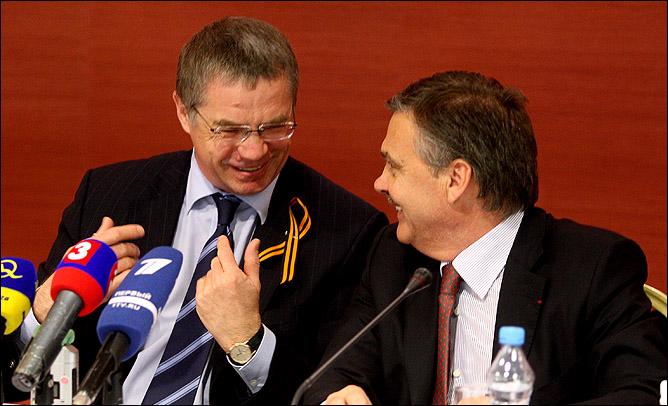 Президент КХЛ Александр Медведев и президент ИИХФ Рене Фазель.