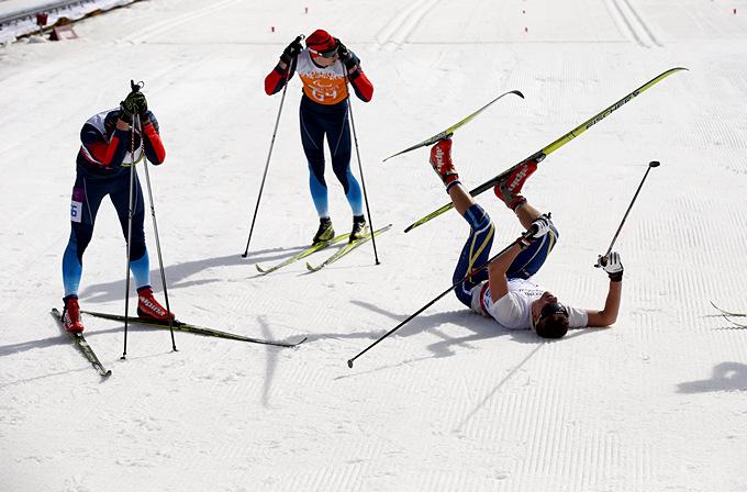 20-километровая дистанция лыжной гонки для слабовидящих спортсменов отняла все силы у украинца Юрия Уткина