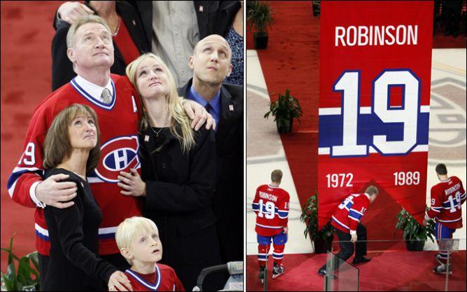 """19 ноября 2007 года. Ларри Робинсон с семьей на церемонии подъема его номера под своды арены """"Канадиенс""""."""