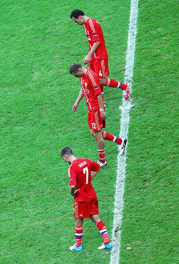 Сборная России после поражения от Греции на Евро-2012