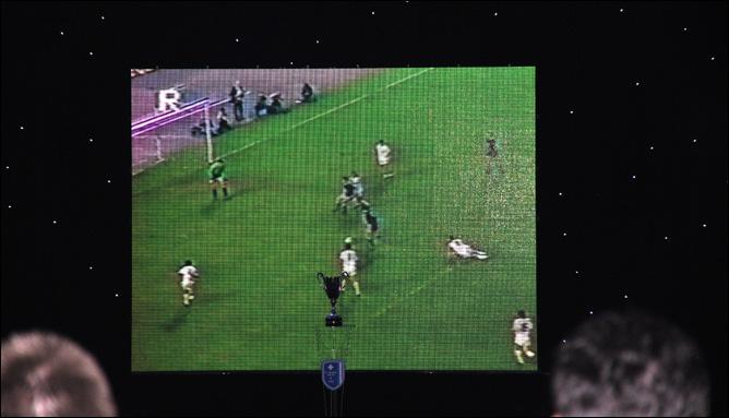 Победный гол Виталия Дараселии на большом экране Тбилисского концертного зала