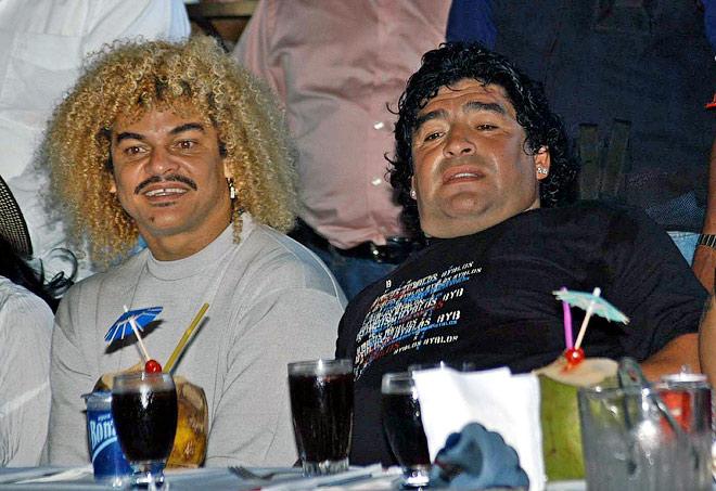 Карлос Вальдеррама и Диего Марадона
