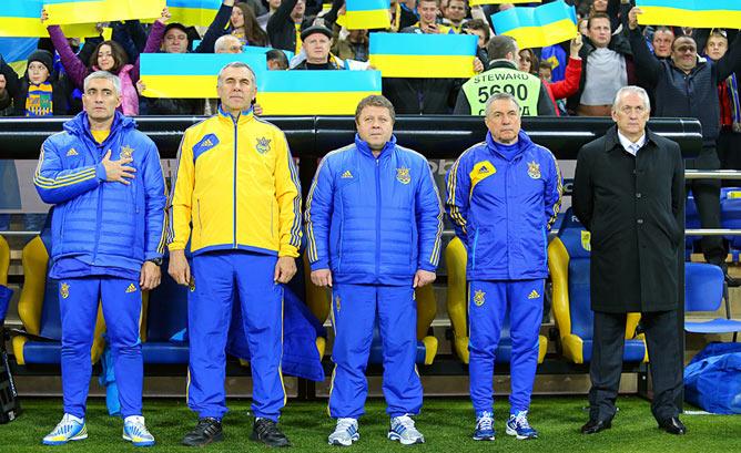 Тренерский штаб сборной: Шпанюк, Сивуха, Заваров, Онищенко, Фоменко