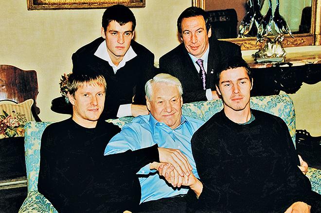 Шамиль Тарпищев, Михаил Южный, Евгений Кафельников и Марат Сафин в гостях у Бориса Ельцина