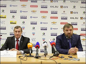 Валерий Белоусов и Олег Знарок на послематчевой пресс-конференции
