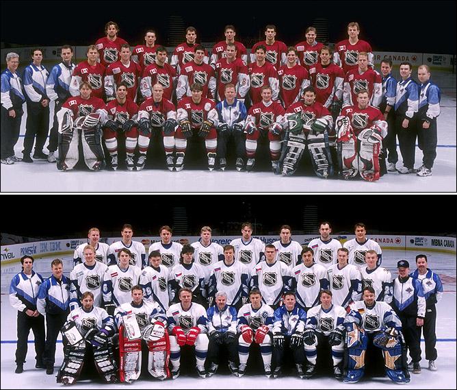 17 февраля 1998 года. Звездный уикэнд НХЛ. Наверху – сборная Северной Америки, внизу – сборная Европы.