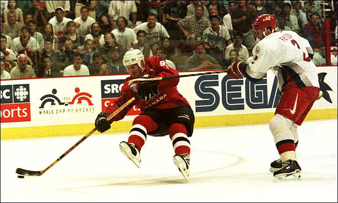 Брендан Шэнахан против Вячеслава Фетисова на Кубке мира. Ванкувер. 29 августа 1996 года.