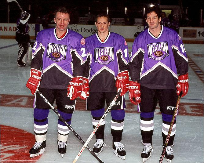 Матч всех звезд 1997 года. Брендан Шэнахан с Вячеславом Фетисовым и Стивом Айзерманом.