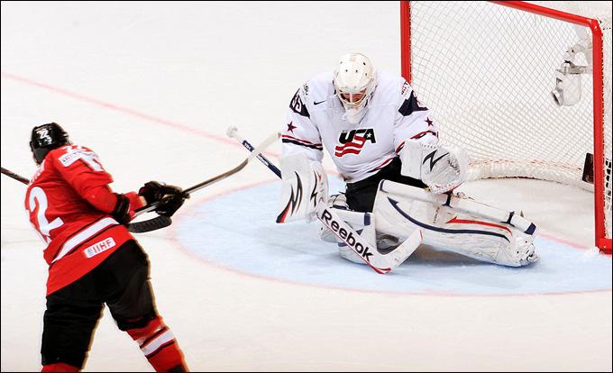 18 мая 2013 года. Стокгольм. Чемпионат мира. 1/2 финала. Швейцария — США — 3:0. Смертельный бросок по воротам Джона Гибсона