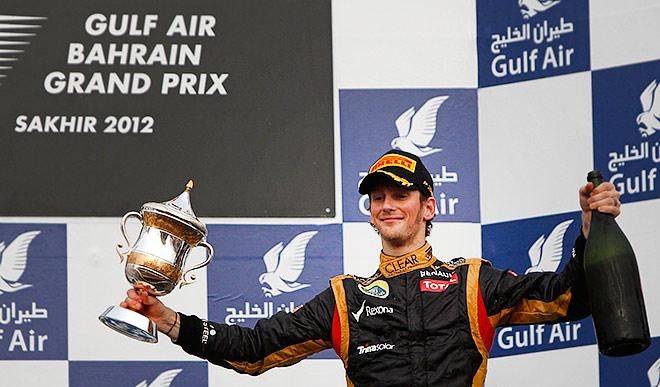 Ромен Грожан на подиуме Гран-при Бахрейна-2012