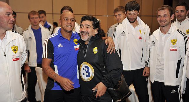 """Диего Марадона посетил """"Анжи"""" по приглашению Роберто Карлоса"""