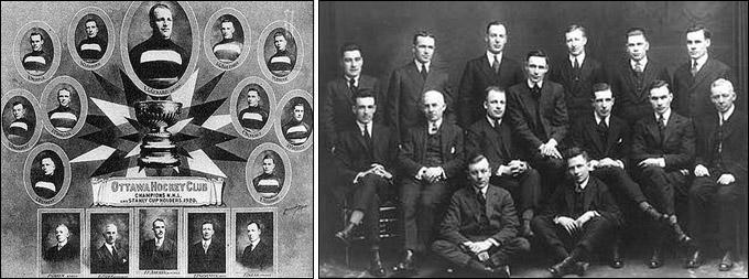 """Обладатели Кубка Стэнли 1920 года (слева) и 1922 года """"Оттава Сенаторз"""""""