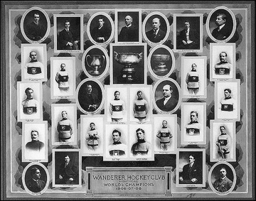 """""""Монреаль Уондерерс"""", обладатель Кубка Стэнли 1906-08 годов. В верхнем ряду, второй справа — генеральный менеджер Дики Бун"""