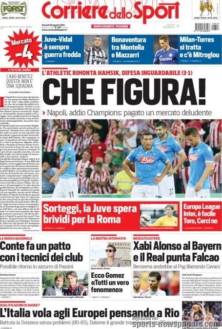 Обложка итальянской газеты Coriere dello Sport