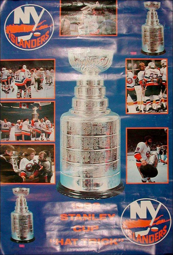 """Настенный плакат, посвященный победам """"Айлендерс"""" в Кубке Стэнли."""