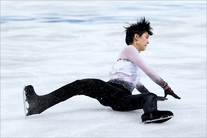 Без падений не обошёлся и олимпийский чемпион Ханю