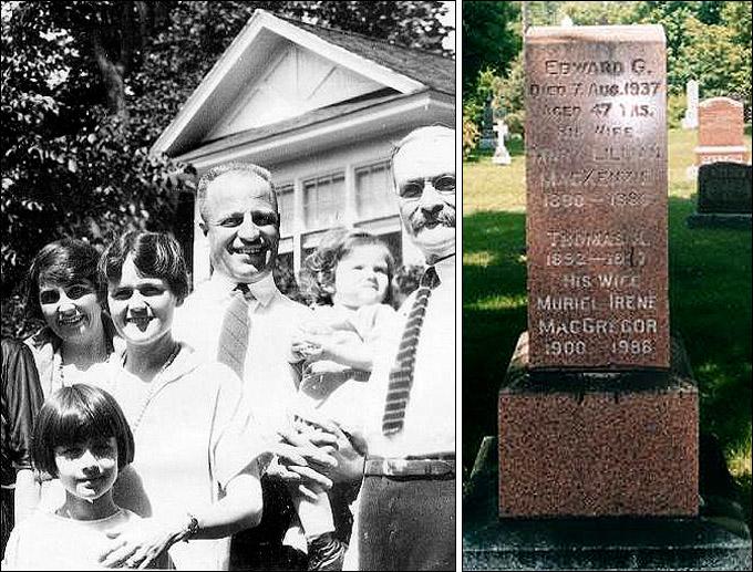 Слева — Эдди Джерард среди родственников (1931 год). Справа — могила Эдди Джерарда на кладбище Бичвуд в Оттаве