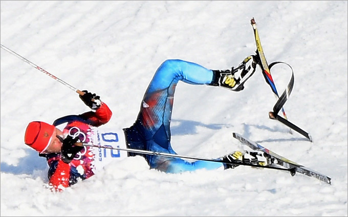 Сломанная лыжа Гафарова