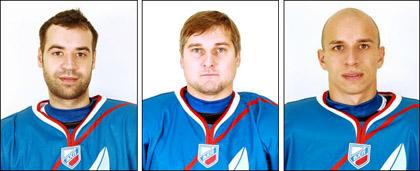 Слева направо: Виктор Луговской, Александр Трофимов и Михаил Потякин