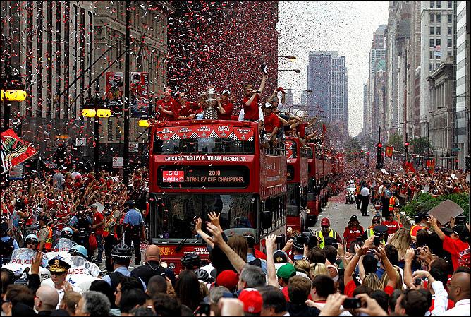 11 июня 2010 года. Чикаго. Парад в честь обладателей Кубка Стэнли