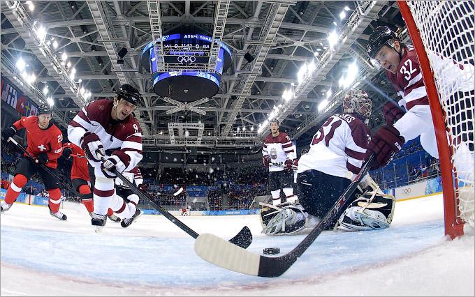 Старт мужского хоккейного турнира: Латвия — Швейцария