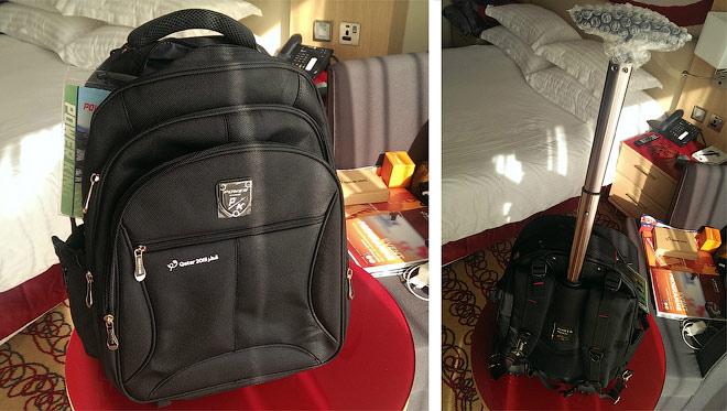 Фирменный рюкзак с ручкой на колёсах