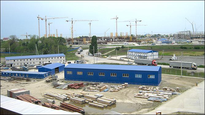 Вид на стройку стадиона сверху