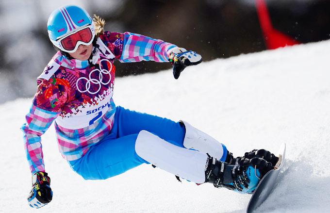 Алёна Заварзина во время соревнований на Олимпийских играх в Сочи