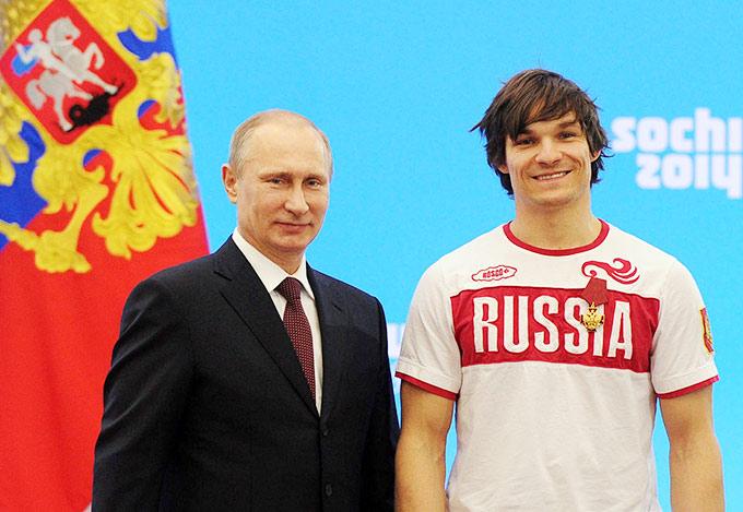 Владимир Путин и Вик Уайлд на чествовании олимпийцев в Кремле