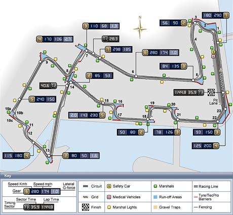 Схема трассы в Сингапуре