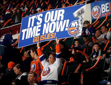 """11 мая 2013 года. Нью-Йорк. Плей-офф НХЛ. 1/8 финала. Матч № 6. """"Айлендерс"""" — """"Питтсбург"""" — 3:4 (ОТ). Болельщики поспешили с лозунгом"""