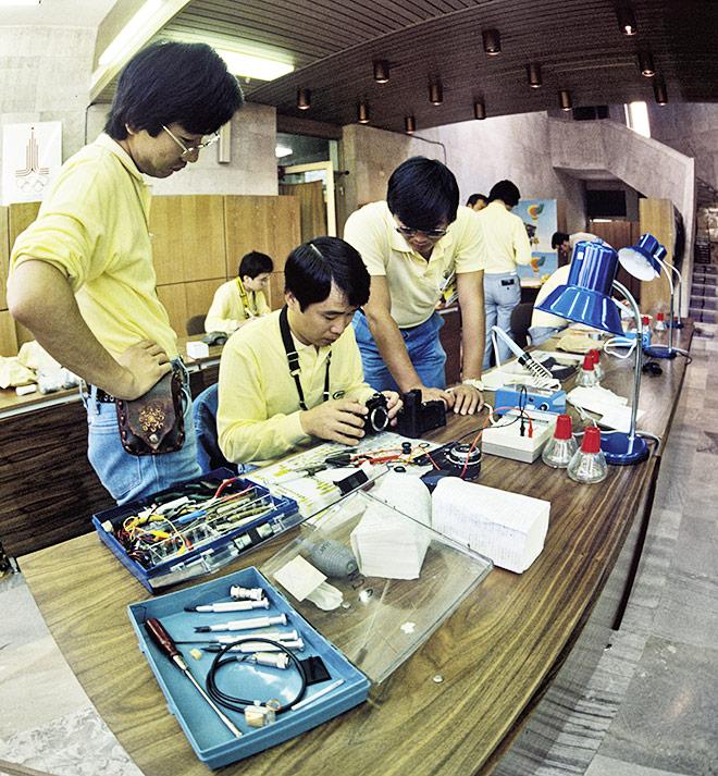 Главный пресс-центр Олимпиады-80. Представители фирмы «Никон»