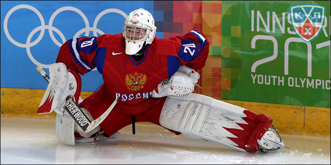 Максим Третьяк в воротах сборной России