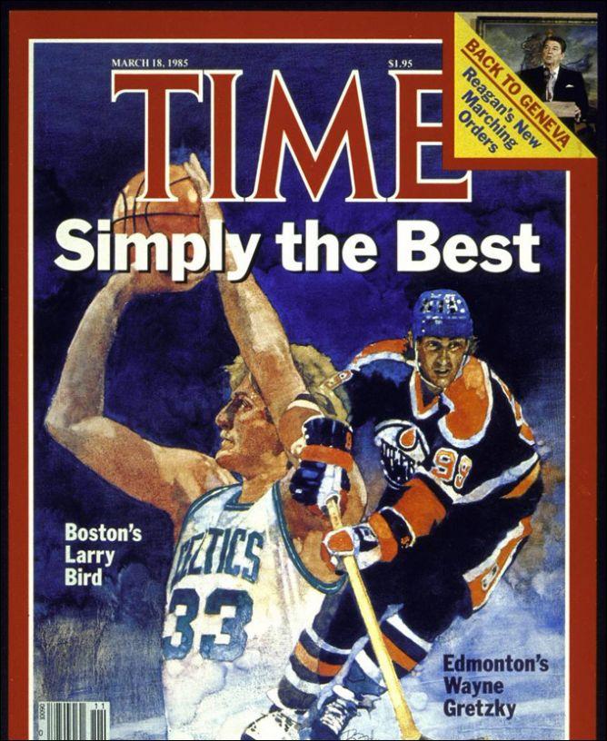 Лучшие люди Америки 1985 года: Ларри Берд и Уэйн Гретцки. Президент США Рейган значительно уступил им в рейтинге популярности.