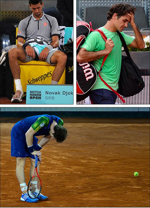 Новак Джокович, Роджер Федерер и Энди Маррей рано выбыли из турнира
