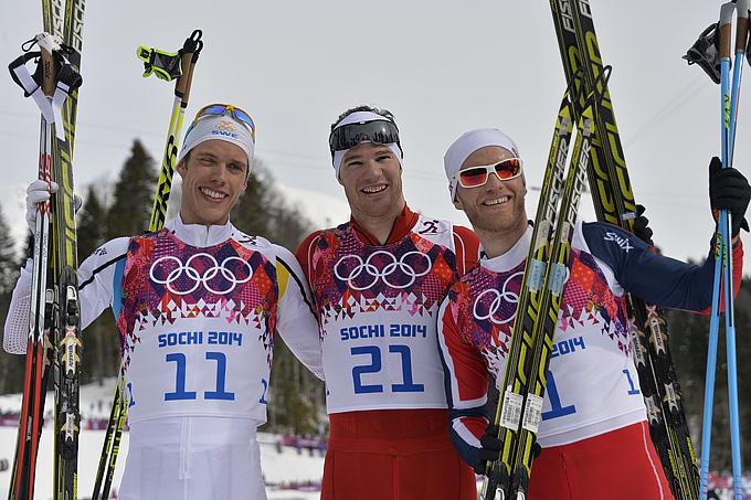 Сочи-2014. Лыжные гонки. Мужчины. Скиатлон 30 км. Маркус Хелльнер (Швеция), Дарио Колонья (Швейцария), Мартин Йонсруд Сундбю (Норвегия)