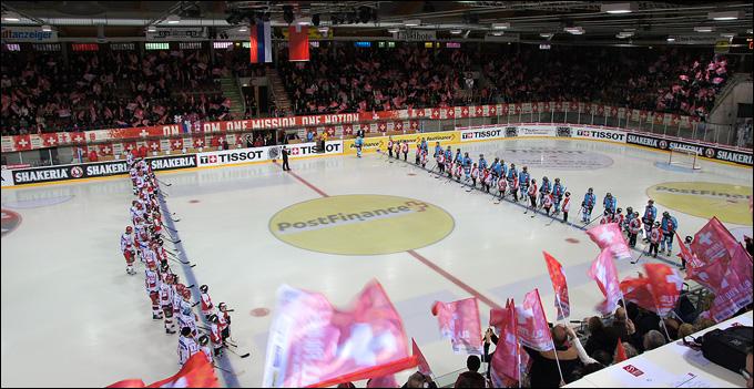 6 апреля 2013 года. Винтертур. Еврочеллендж. Швейцария — Россия — 4:3. Звучат гимны стран-участниц