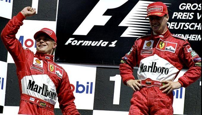 Мика Сало и Эдди Ирвайн на подиуме Гран-при Германии-1999