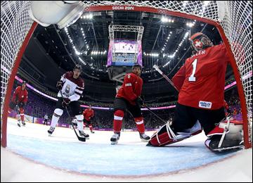 18 февраля 2014 года. Сочи. XXII зимние Олимпийские игры. Хоккей. Квалификация. Швейцария — Латвия — 1:3