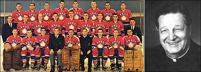 Слева – отец Бауэр со своей сборной Канады. Справа – с этой фотографии он улыбается посетителям Зала хоккейной славы НХЛ.