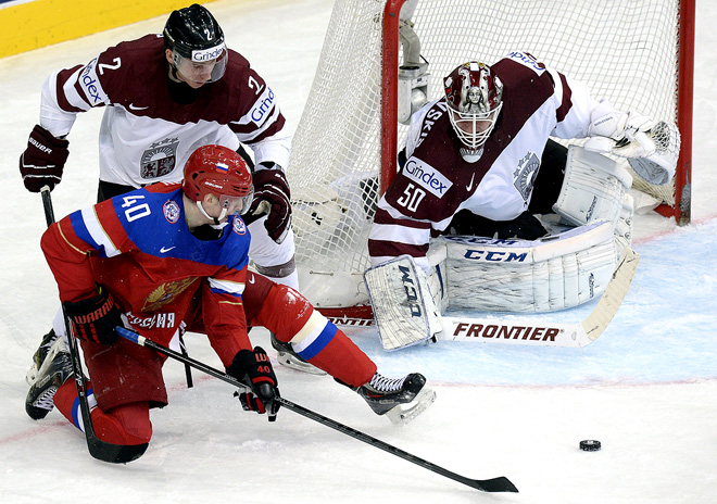 17 мая 2014 года. Минск. Чемпионат мира. Групповой этап. Латвия — Россия — 1:4
