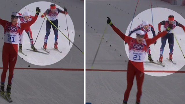 Финиш мужского скиатлона