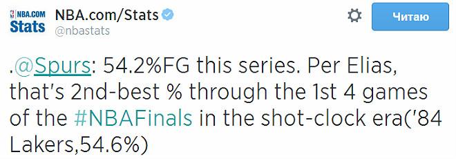 «Сан-Антонио» реализовал в первых четырёх играх 54,2% бросков с игры. Это второй результат в истории лиги после достижения «Лейкерс»-1984 (54,6%)